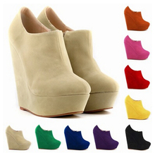 Pumps Shoes Woman Singles High-heeled Simple Flannel Waterproof Slope With Shallow Mouth Singles Side Zipper Boots Rome sapatos