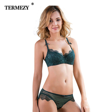 2017 Sexy Women Lace Lingerie Bra Set Push Up Bras And Underwear Sets Plus size A B C D Cup Embroidery Bra And Panty Set termezy women sexy bra set luxury lace push up plus size underwear sexy lace briefs lingerie 3 4 cup bra and panty set 4 colors