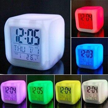 多機能色変更LEDデジタル目覚まし時計LED白熱温度計デスクトップテーブルデジタル目覚まし時計7色変更デジタル時計