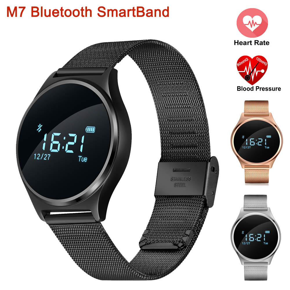 New M7 Bluetooth SmartBand Blood Pressure Monitor Heart Rate Monitor Smart Bracelet Wristband Fitness Tracker For