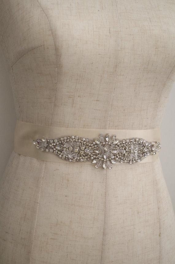 silver Rhinestone Sash applique, crystal applique, rhinestone sash applique, wedding sash applique