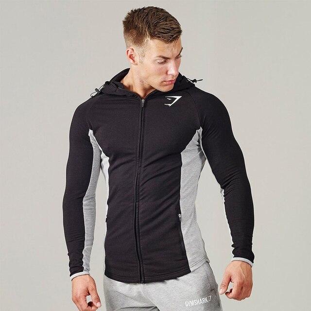 Autumn Men Bodybuilding Hoodies Sweatshirts Gyms Hooded Jacket Zipper Closing Casual Sportwear