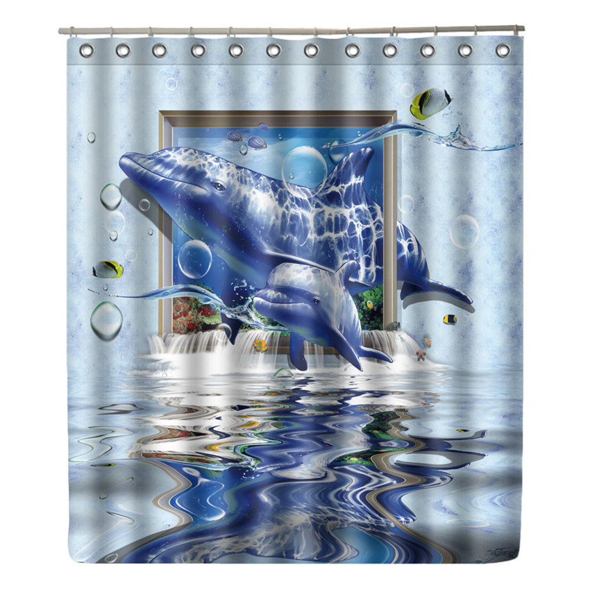 WONZOM Dolphin Shower Curtain Waterproof Fish Bathroom Modern Animal Bath With 12 Hooks Accessories Home Decor