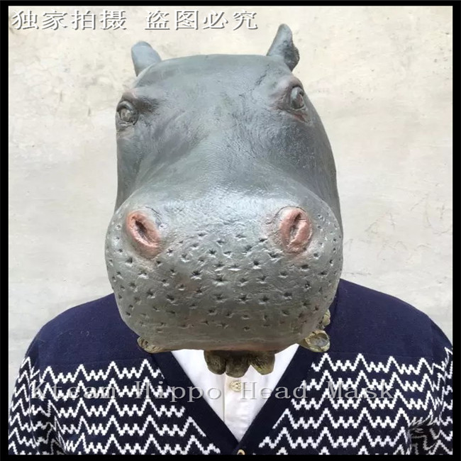 Halloween Party Cosplay Deluxe Design Christmas Costume Rubber Animal Masks Latex Realistic Hippo Head Mask Full Head Hippo Mask