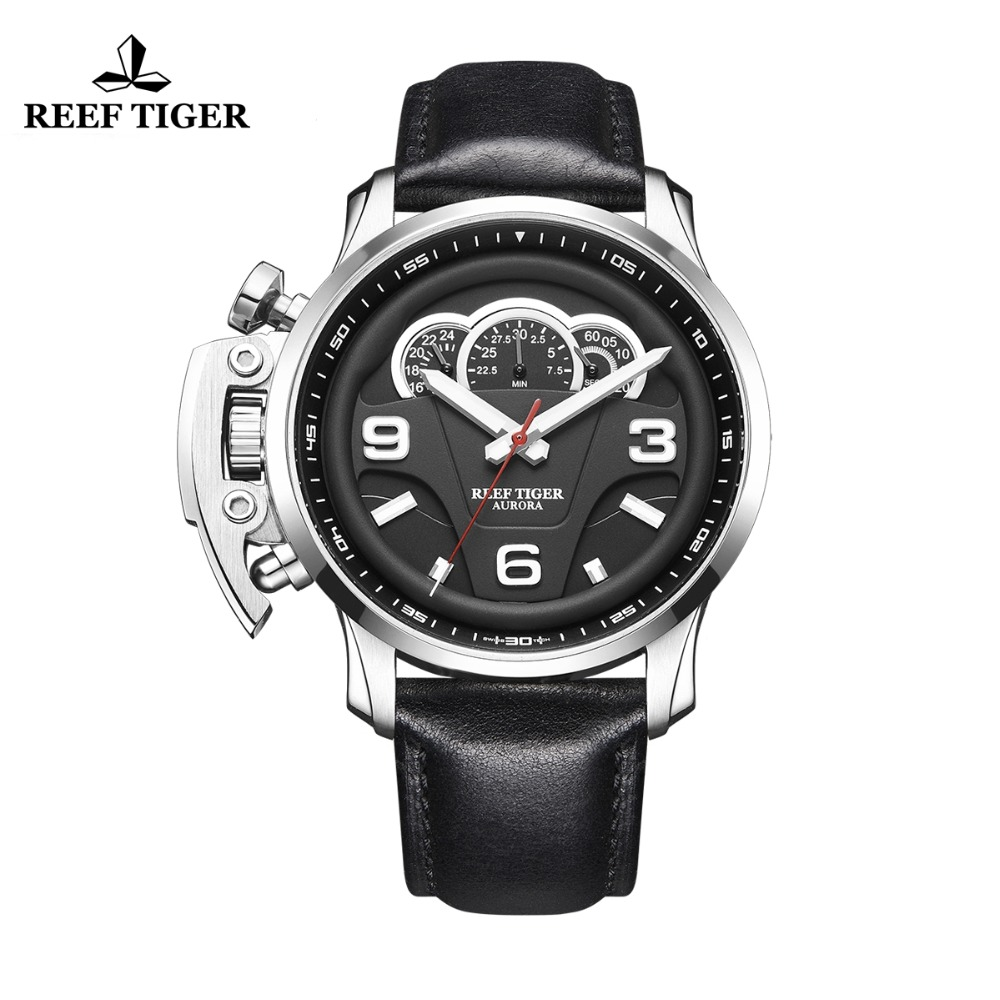 New Reef Tiger/RT Outdoor Sport Watches for Men Steel Analog Quartz Watches Leather Strap Waterproof Watch Montre Homme RGA2105