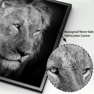 Image 4 - Animais selvagens leão tigre leopardo elefante arte da parede pintura da lona nordic cartazes e impressões fotos parede para sala de estar decoração