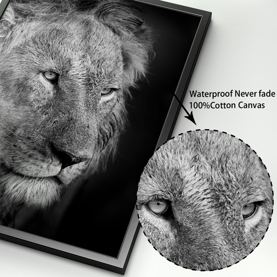 Image 4 - Wild Animal Lion Tiger Leopard Elephant Wall Art Canvas Painting Nordic Posters And Prints Wall Pictures For Living Room Decor-in Painting & Calligraphy from Home & Garden