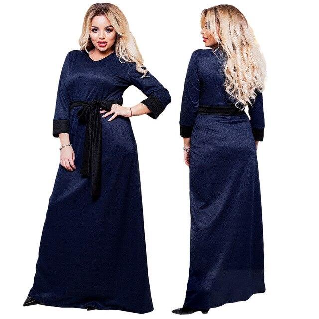 2018 New Arrive Fat MM 6xl Dresses for Women Fashion Round Neck Loose  Clothing Ladies Plus Size Long Dress Vestidos  with Belt  da381123e75f