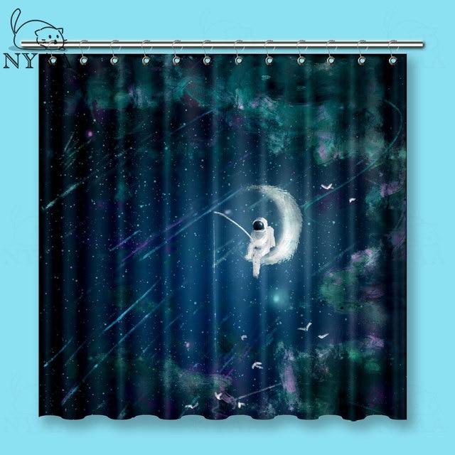 NYAA Fantasy M Starry Fishing Shower Curtains Astronauts Dream