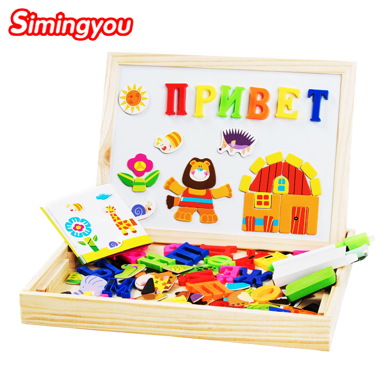 Simingyou Learning Education Puzzle Russian English Numeral 8 Styles Wooden Magnetic Puzzle Drawing Board font b