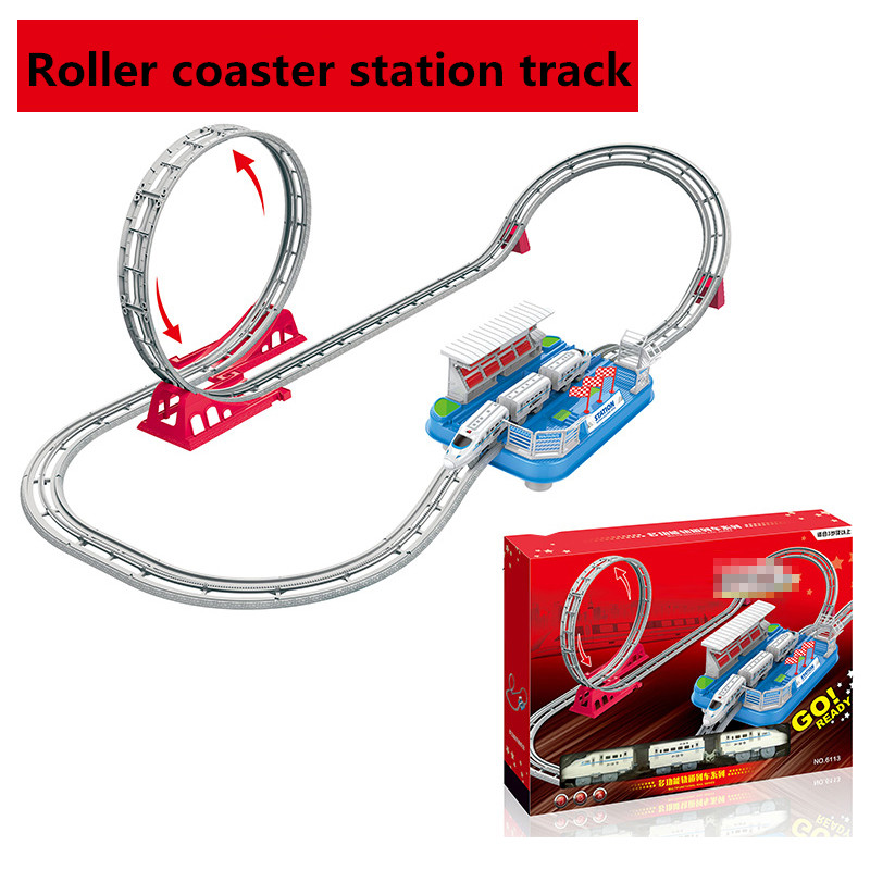 Moulé sous pression BRICOLAGE Puzzle Jouet Piste de Roller Coaster Électronique Jouet Wagon De Voiture Jouet pour les Enfants enfants jouets pour enfants