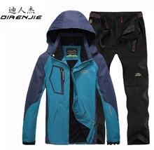 DIRENJIE Autumn Fishing Hiking Camping Trekking Sportswear suit Mens Outdoor Waterproof Windproof Jacket +Quick Dry Pants sets