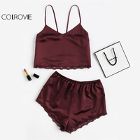 COLROVIE Sleeveless Lace Trim Satin Cami And Shorts Pajama Set 2017 Women Burgundy V Neck Spaghetti