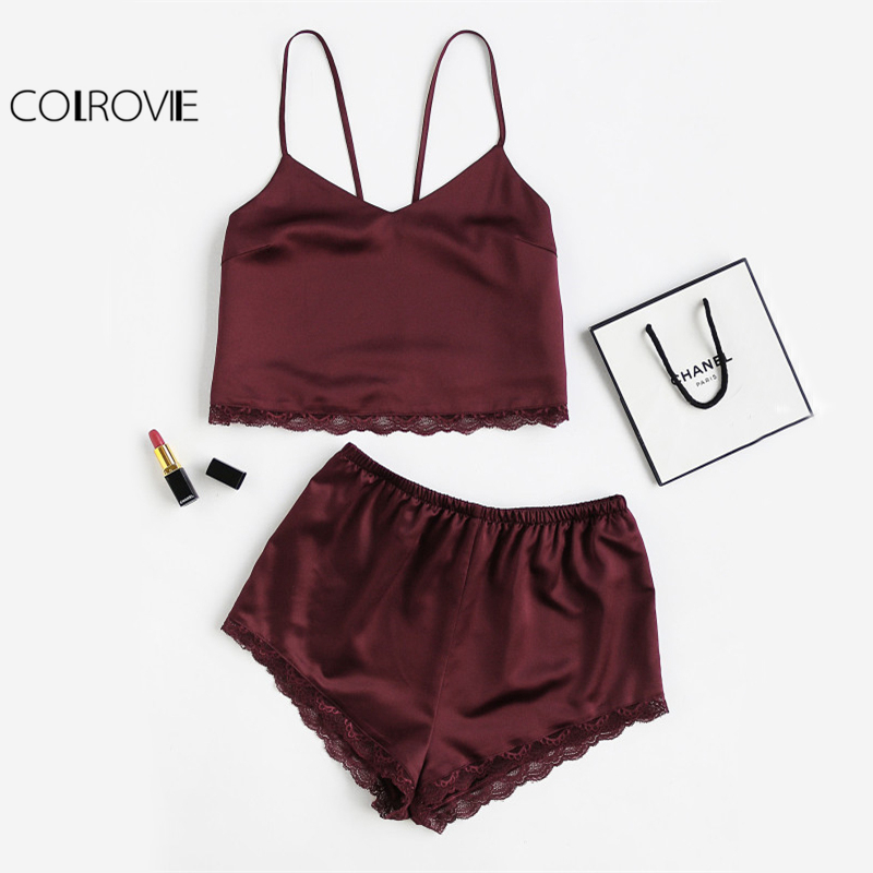 COLROVIE Sleeveless Lace Trim Satin Cami And Shorts Pajama Set 2018 New Burgundy V Neck Sexy Set Sleepwear Summer Women Pajamas