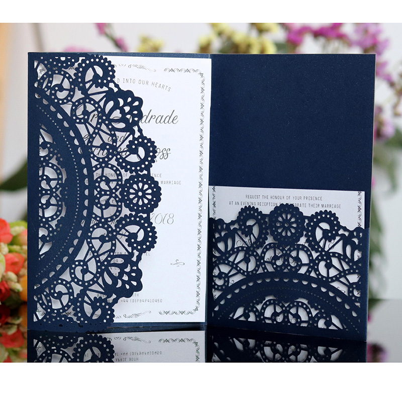 Us 27 37 26 Off 100pcs Laser Cut Lace Flower Wedding Invitation Card Elegant Greeting Card Customize Business Rsvp Card Wedding Party Decoration In