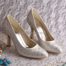(20 Colors)Hot Selling Brand Handmade Crystal Stone Shoes Women High Heel Ivory Satin