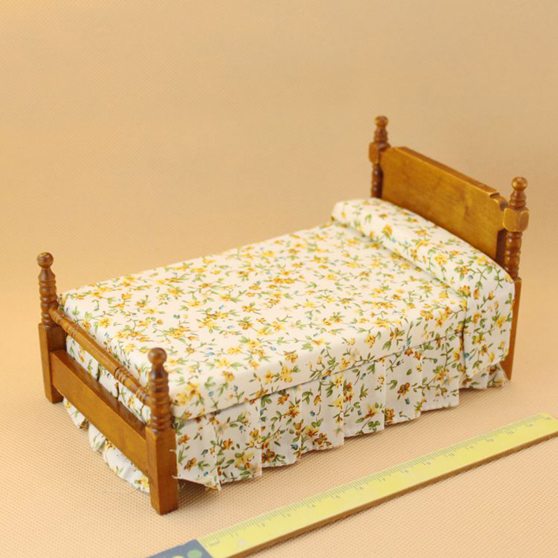 Kids Bedroom Furniture Kids Wooden Toys Online: 1/12 Wooden Dollhouse Miniature Bed Bedroom Furniture