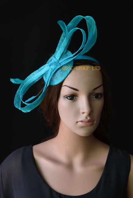 29b2faca68ec4 Turquoise blue sinamay fascinator with big sinamay bow feathers for Tea  Garden party Royal Races Kentucky derby.