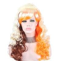 ゴールドブラウンオレンジanxin合成波状毛衣装コスプレカーニバルハロウィーンパーティー女性かつら