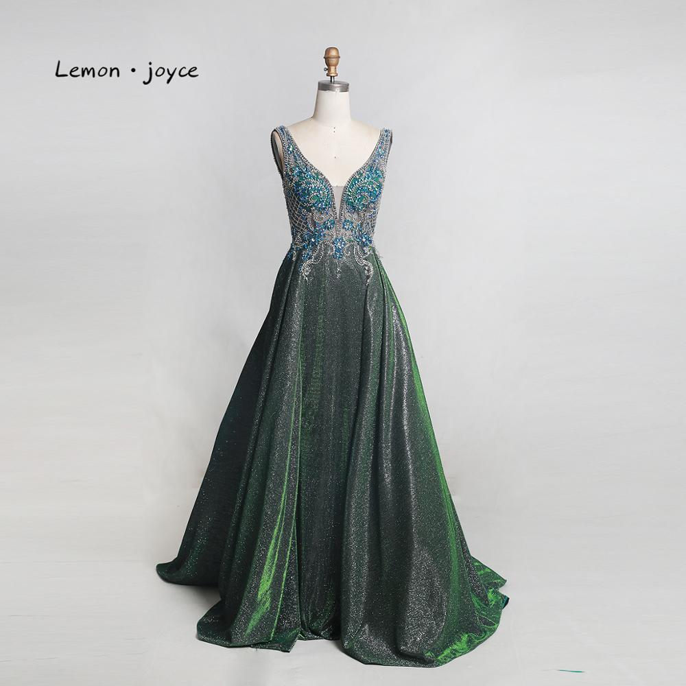 Lemon joyce Elegant Long Prom Dresses 2019 Sexy V neck Backless Beading Shiny A line Evening Gowns Plus Size vestidos de gala-in Prom Dresses from Weddings & Events