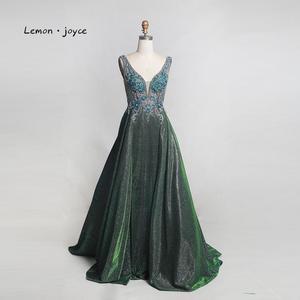 Image 2 - Limon joyce yeşil balo kıyafetleri 2020 seksi v yaka boncuk parlak Dubai gece elbisesi vestidos de gala artı boyutu