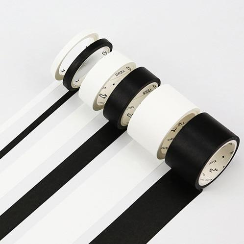 5mm/15mm Solid White Black Basic Decorative Paper Writable Adhesive Washi Masking Tape School Supplies Stationery