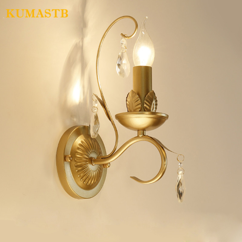 American Country Iron Crystal Wall Lamp European Luxury Living Room Bedroom Bedside Light Vintage Candle Crystal Wall Sconce fashion rustic iron bedroom bedside wall light fixture home deco living room e27 wall lamp european vintage glass wall sconces
