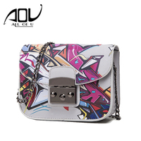 CASUAL Women Crossbody Bag Graffiti Ladies Designer Chain Handbags Female Sling Mini Flap Messenger Bags sac a main femme 2017