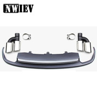 NWIEV 1set For Audi A7 2012 2013 2014 2015 hatchback Quattro Gray PP Car Rear Lip Diffuser Spoiler Exhaust Tips Pipe Accessories