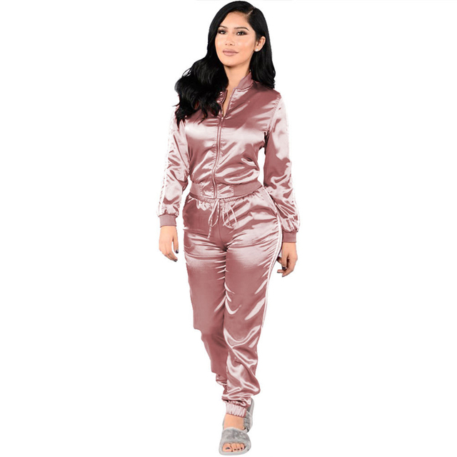 Casual Pink Zipper Satin Women Long Jumpsuit Loose 2 Piece Long Sleeve Striped Combinaison Femme Black Playsuit Overalls