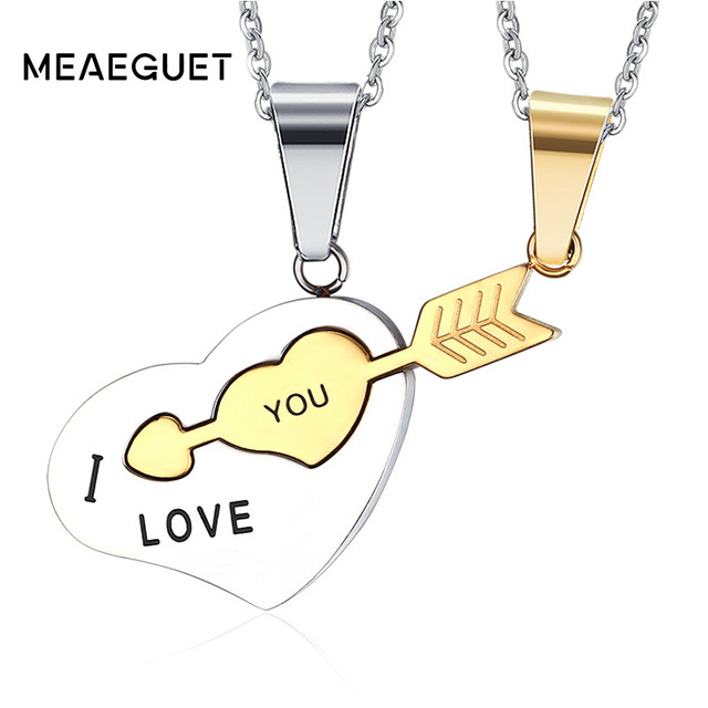 Meaeguet stainless steel lovers heart lock pendant necklace fall in meaeguet stainless steel lovers heart lock pendant necklace fall in love at first sight for women aloadofball Gallery