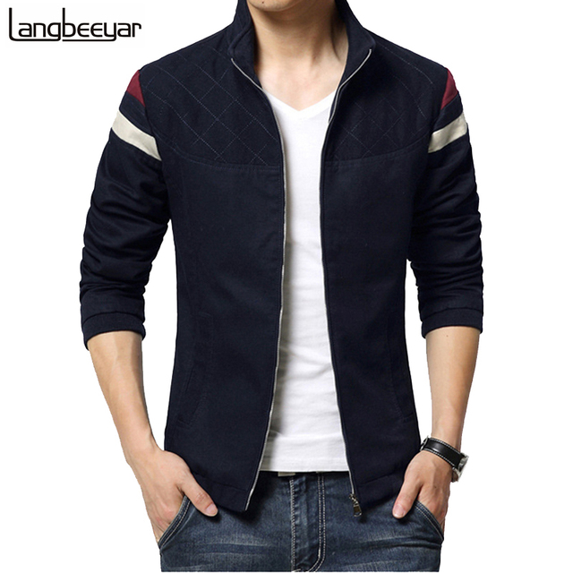 2015 New Fashion Brand Jacket Men Trend Patchwork Korean Slim Fit Mens Designer Clothes Cotoon Men Casual Jacket  4XL 5XL