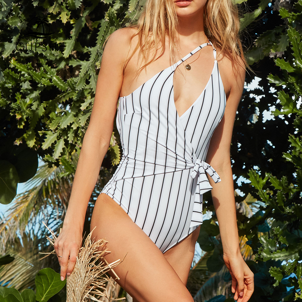 CUPSHE Stay Young Stripe One-piece Swimsuit Women V neck Sexy Backless Tied Bow Monokini 2019 Beach Bathing Suit Swimwear