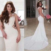 Exquisite Jewel Decote Natural Cintura Mermaid Vestido de Noiva Com Apliques de Renda Lado Recorte Sexy Abrir Voltar vestido de Noiva