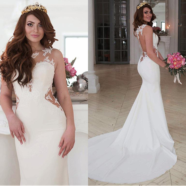 Exquisite Jewel Neckline Natural Waistline Mermaid Wedding Dress With Lace Appliques Cutout Side Sexy Open Back Bridal Gown