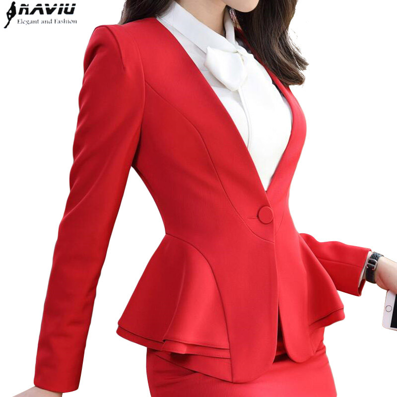 Fashion elegant red women blazer new winter formal Business ruffles slim V Neck jacket office ladies plus size work coat apricot