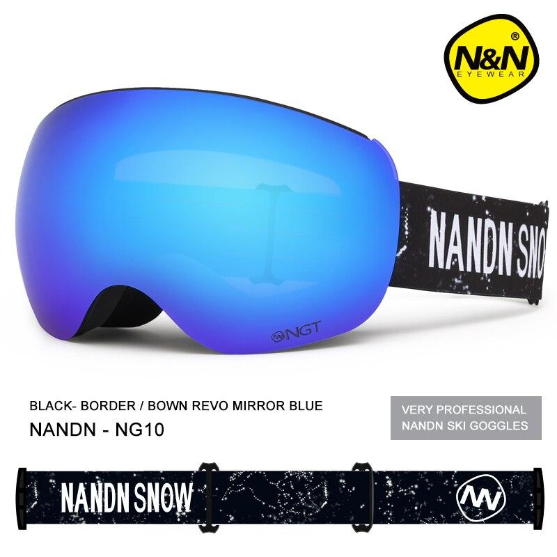 NANDN Brand Ski Goggles Men Women Snowboard Goggles Ski Glasses UV400 Protection Snow Skiing Glasses Anti-fog Ski Mask NG10