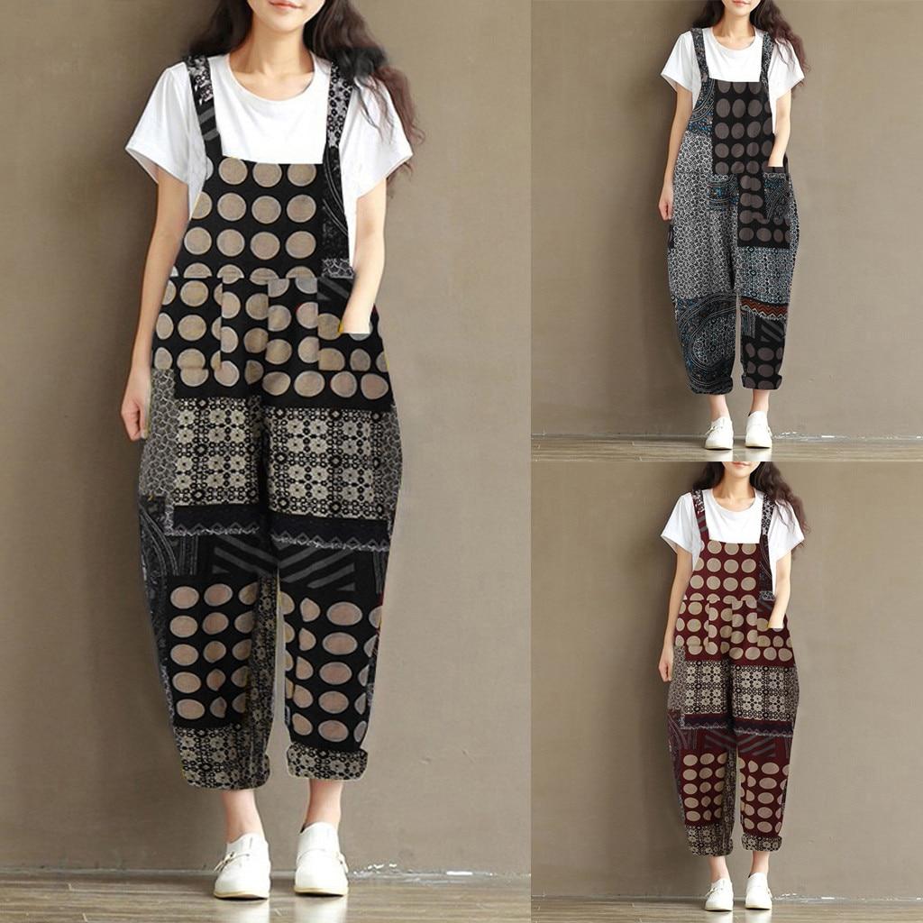 Combinaison Pantalon Femme Romper Women Vintage Print Bohe Loose Bib Pants Cotton Linen Overalls Jumpsuit Women Clothes Z4