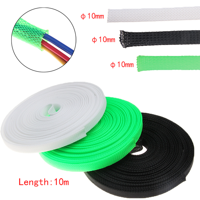 10M White/Black/Green 10mm Tight PET Braided Sleeving Insulated Hose ...