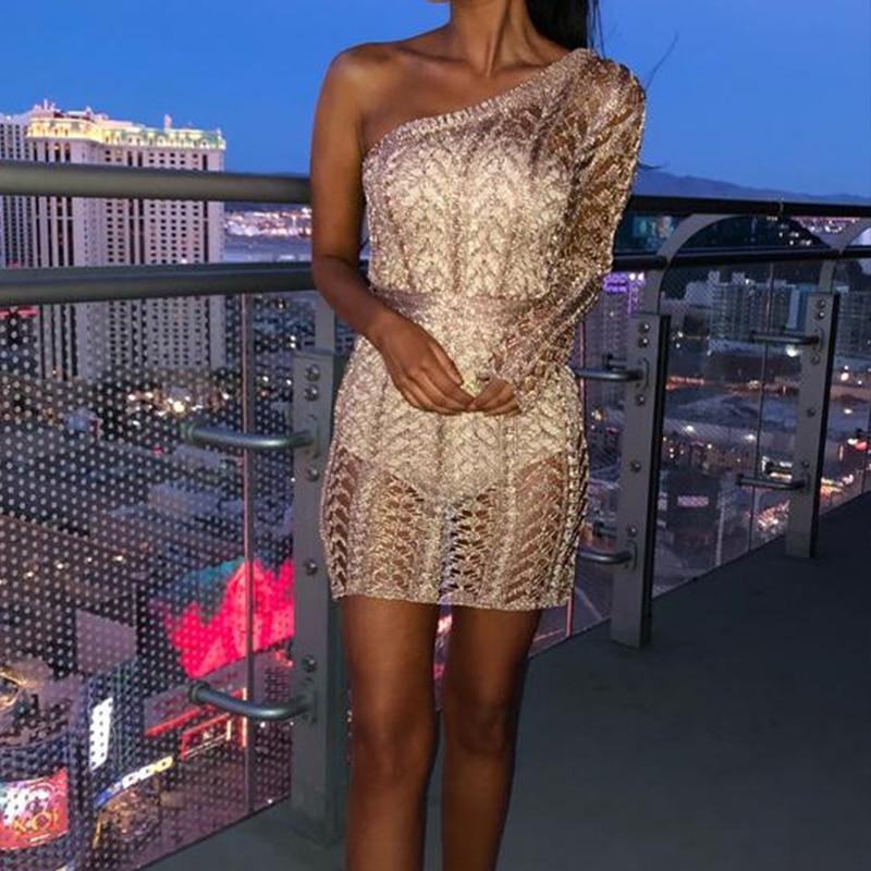 Été femmes élégantes scintillantes Club Mini robes dame Crochet Sexy évider une épaule Rose or robe de soirée robe de soirée
