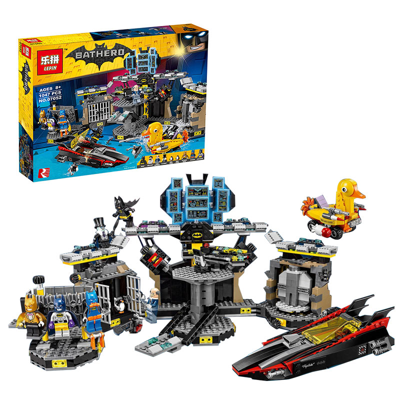 Models building toy Lepin 07052 1047pcs Building Block Compatible with lego 70909 super heroes movie blocks Batcave toys hobbies 8pcs lot movie super hero 2 avenger aochuang era kid baby toy figure building blocks sets model toys compatible with lego