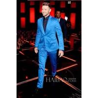 New arrival male partner lapel groom tuxedo shiny blue men's suit wedding best men's suit (jacket + pants) custom made