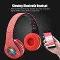 Original bluetooth diadema plegable luz led deportes auricular fm tf tarjeta sd auriculares de moda auriculares de reducción de ruido estéreo