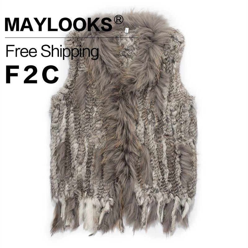2017 New Arrival font b Women s b font Natural Real Rabbit Fur Vest Short Coat