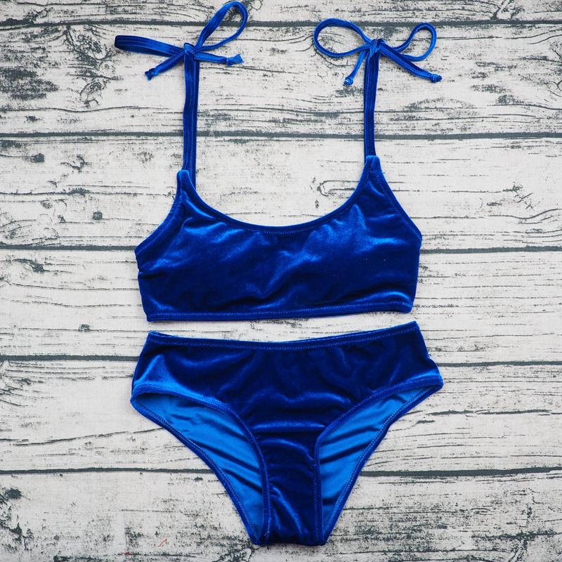 Sexy Brazilian Bikini 17 Blue Velvet Swimwear Women Swimsuit Push up Biquini Halter Bikinis Set Bathing Suit Maillot De Bain 5