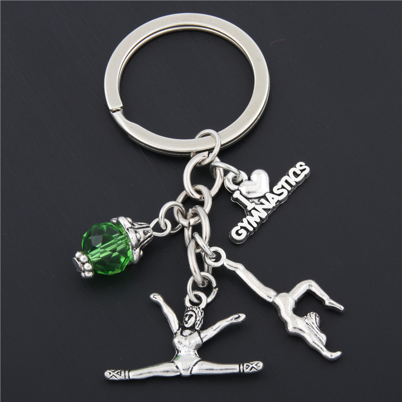1pc New I Love Gymnastics Key Chain Heart Gymnast Pendant Keychain Ring Keyring Creative Gifts Women E1675