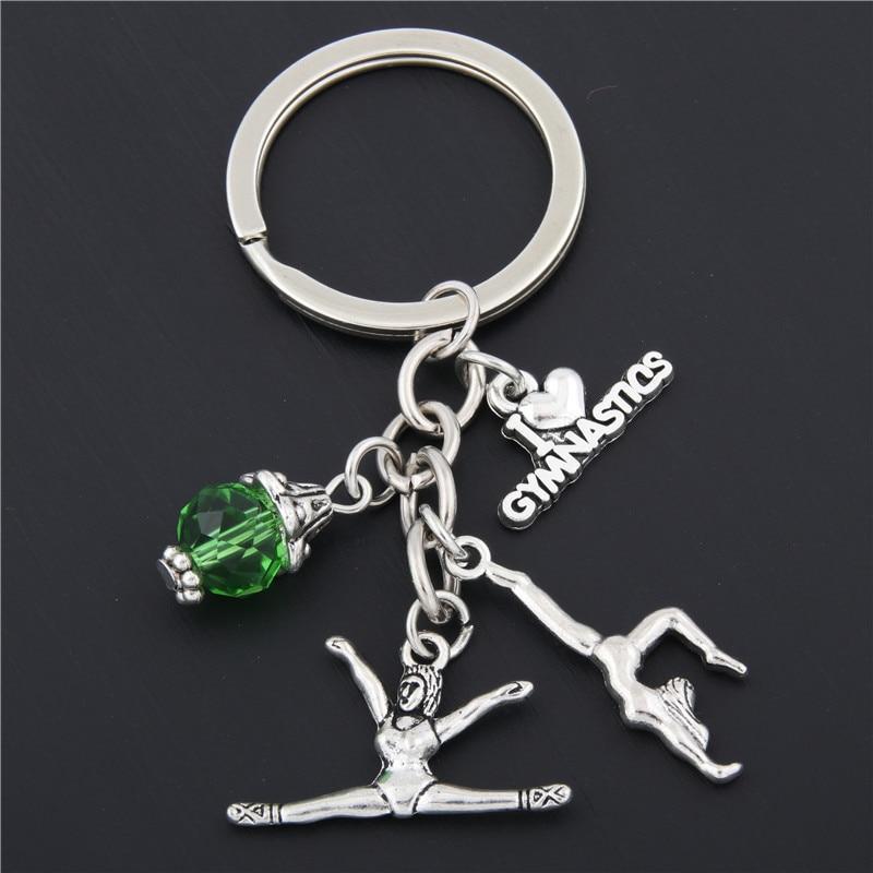 1pc New I Love Gymnastics Key Chain Heart Gymnast Pendant Keychain Ring Keyring Creative Gifts Women E1675