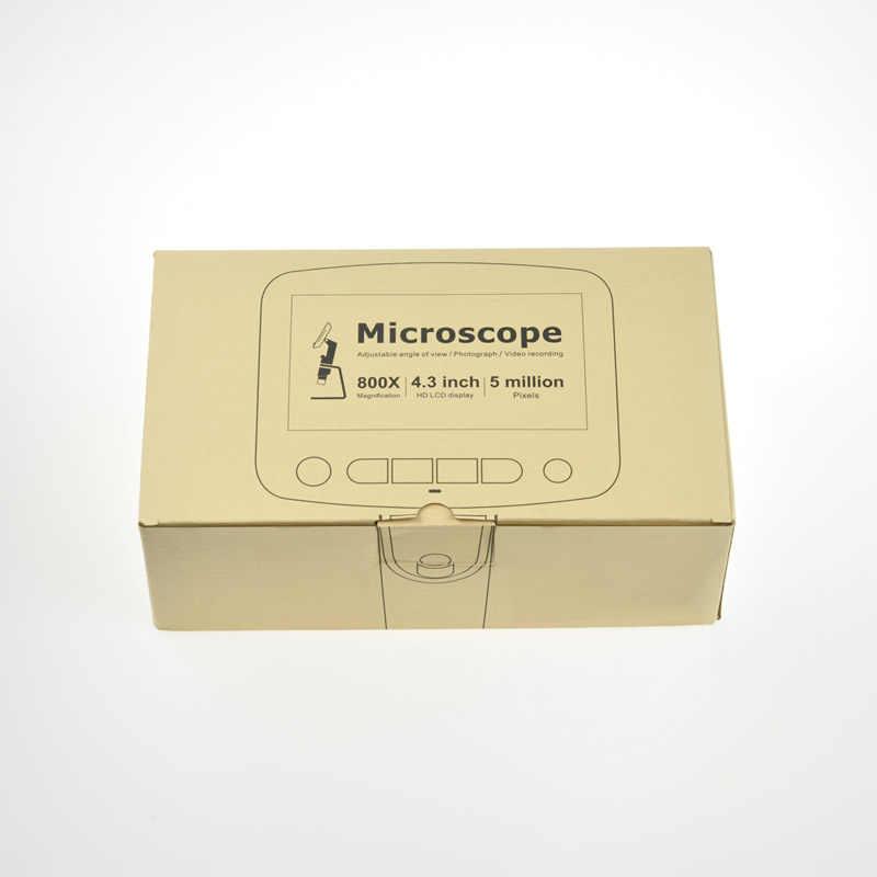 Цифровой электронный микроскоп, 1-800х, 5,0 Мп, ЖК-дисплей 4,3 дюйма, HD-видео, микроскоп для ремонта ППМ, материнских плат, мобильных телефонов, паяльный инструмент