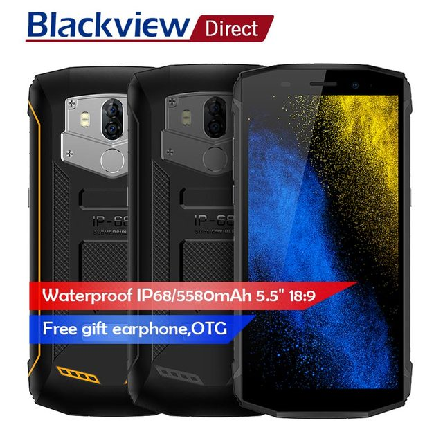 Blackview BV5800 5.5 inch18:9 HD+ Screen Smartphone IP68 Waterproof Dual Rear Camera Mobile Phone NFC Android 8.1 Cell Phone