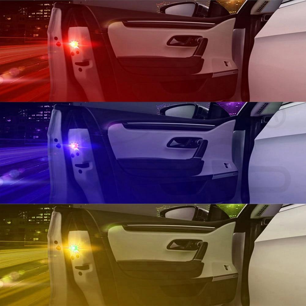 Hviero Red Blue Yellow RGB General Car Door LED Opening Warning Lamp Safely Flash Light Red Kit Wireless Anti-collid Signal Light